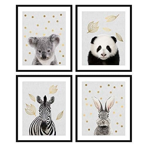 Bestbuddy Pet Set Of 4 8x10 Unframed Woodland Animals Koala Panda Zebra Bunny Rabbit Nursery Wall Art Prints Real Gold Foil Baby Print Bbpap018