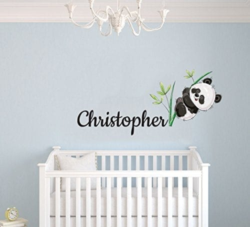 Custom Name Panda Bear And Branches - Baby Gir/Boyl - Nursery Wall Decal  For Baby Room Decorations - Mural Wall Decal Sticker For Home Children\'s ...