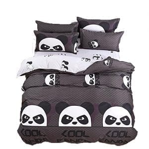 Cheerful Panda Different Poses with Bamboo Branch Children Painting Art Print Decorative 2 Piece Bedding Set with 1 Pillow Sham Black White Ambesonne Arrow Duvet Cover Set Twin Size
