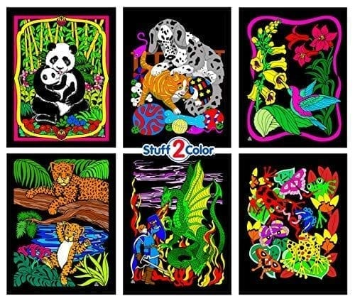 Stuff2Color Panda, Kitten, Dragon And Knight, Leopards, Humming Bird, Frog  - 6 Fuzzy Velvet Coloring Posters Panda Things