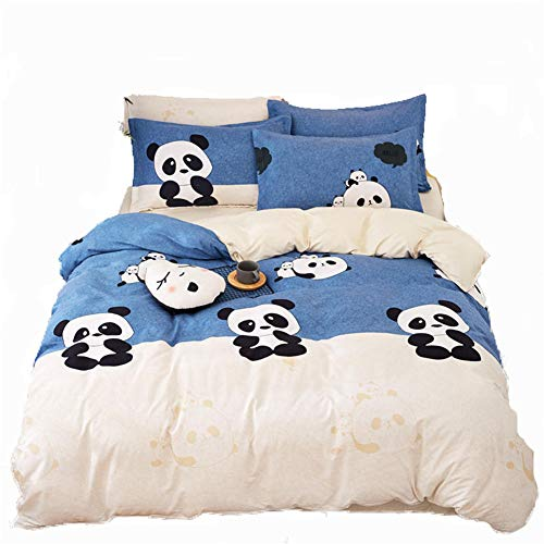 Vefadisa Panda Printed Bedding Set Duvet Cover Set For Teens Queen Size 4pcs Bedding Set 1 Comforter Cover 2 Pillow Cover 1 Flat Sheet With Zipper